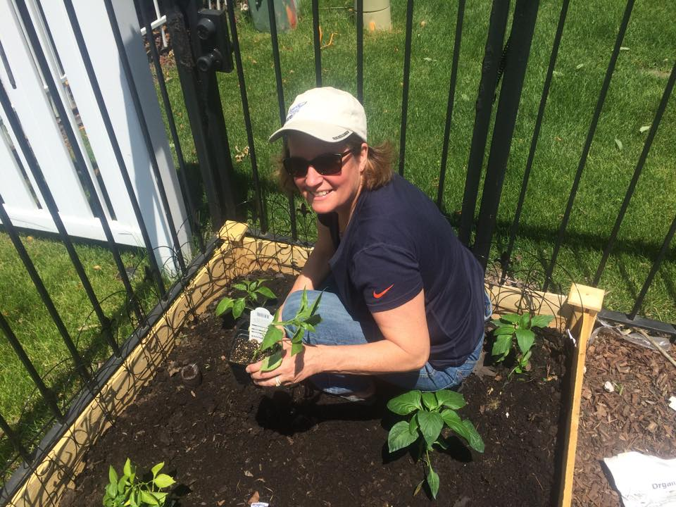 Jean in garden June 2015